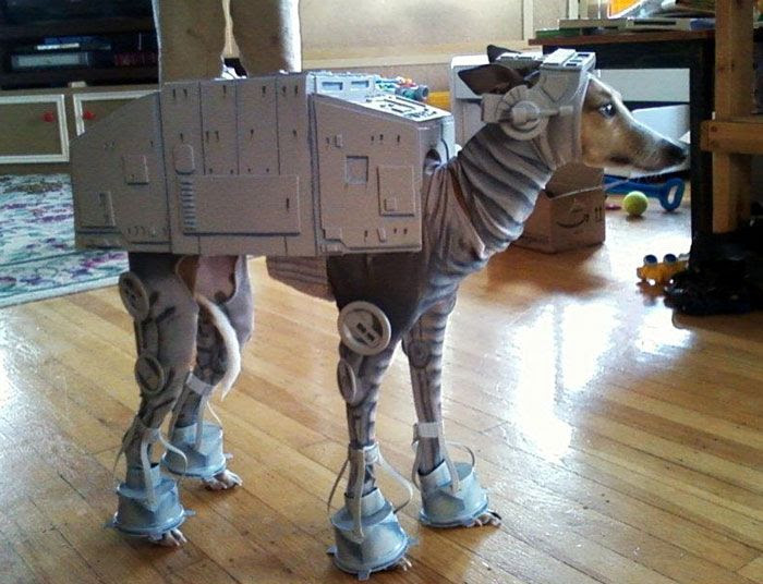 A dog that's dressed as an Imperial Walker.