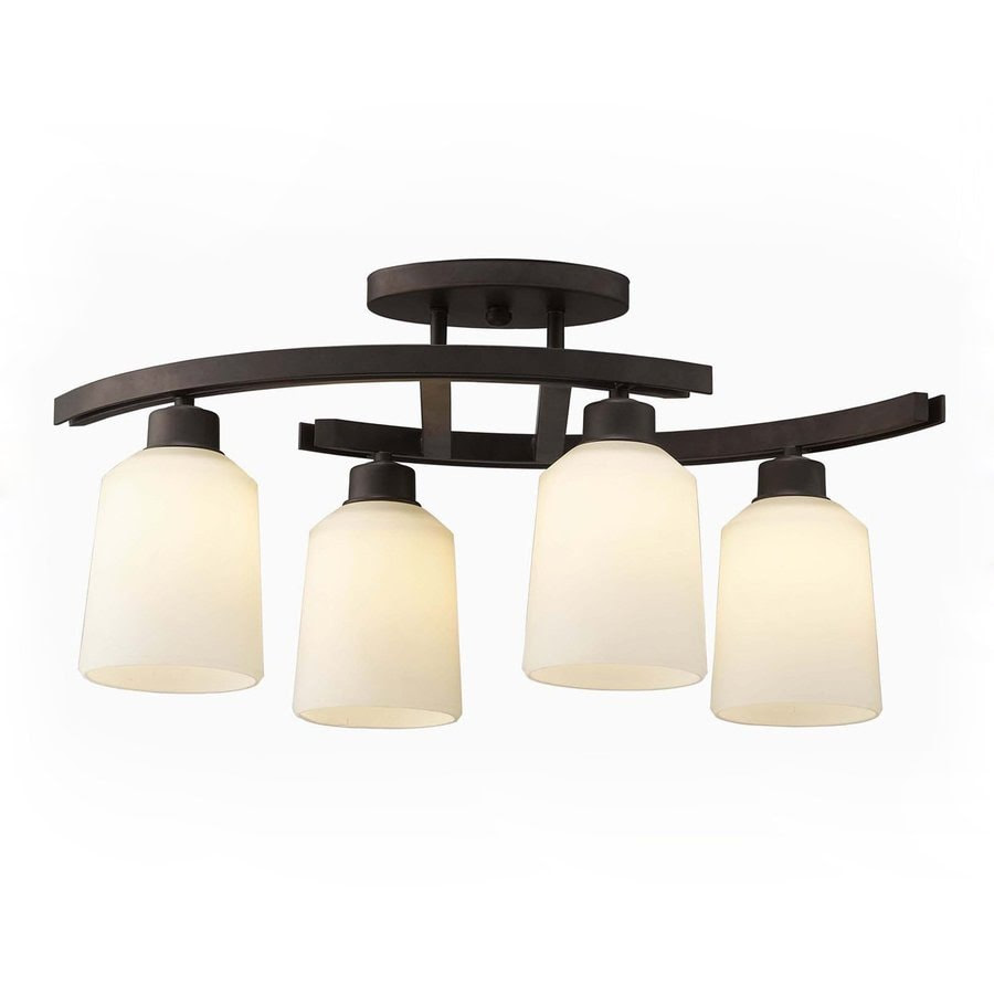 Shop Canarm Quincy 4.75in W 4Light Oil Rubbed Bronze Kitchen Island Light with Frosted Shade