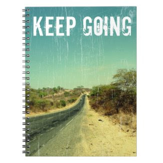 """Keep going"" vintage photo of a road Spiral Notebook"