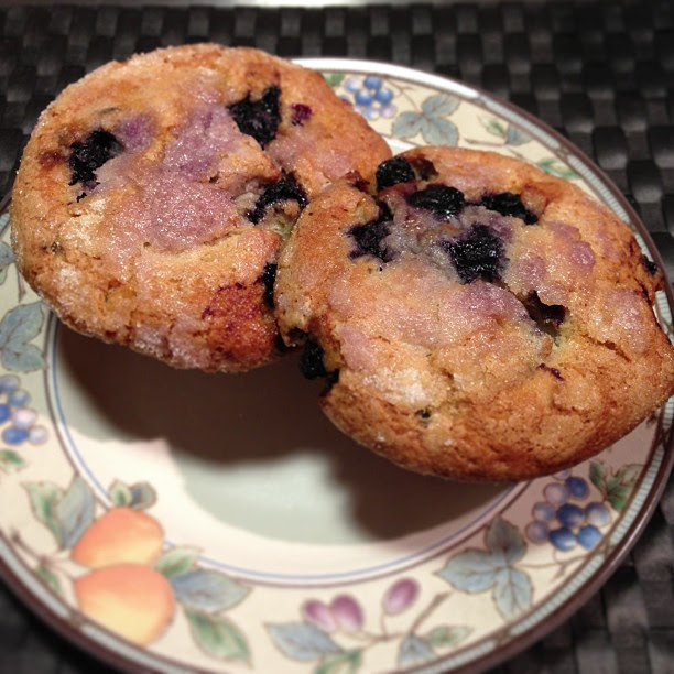 The Original Jordan Marsh Blueberry Muffins on a Plate.