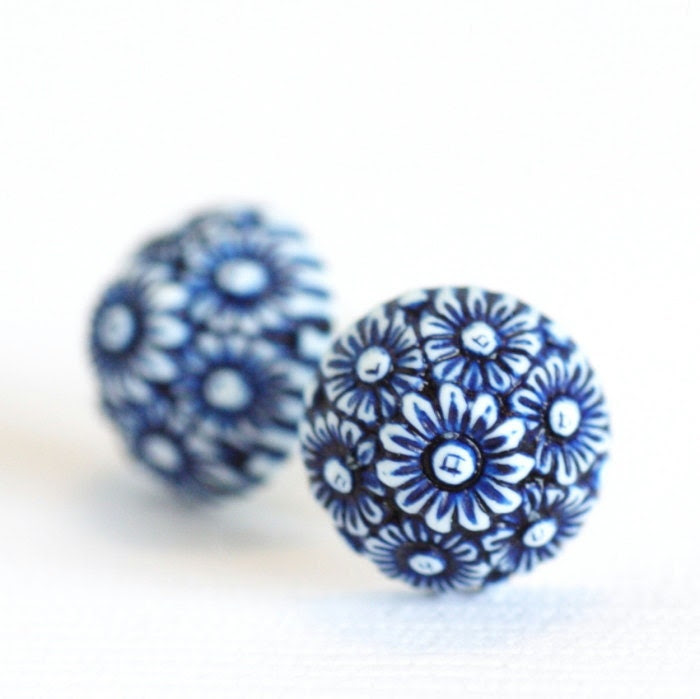 Blue and White Earrings  - Ornate Floral Blue and White Daisies - BACK IN STOCK