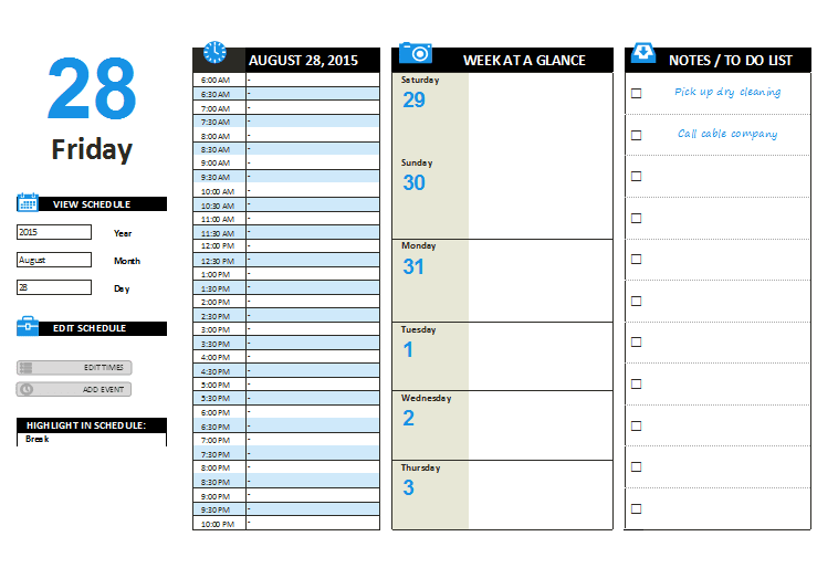 Daily Planner Template Word – Printable Documents