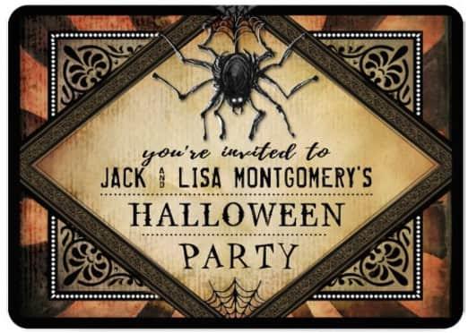 Halloween Gothic Spider Orange Halloween Party Invitation