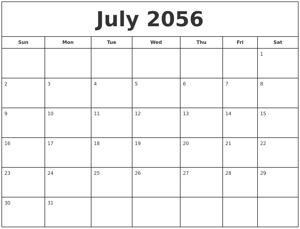 july 2056 print free calendar