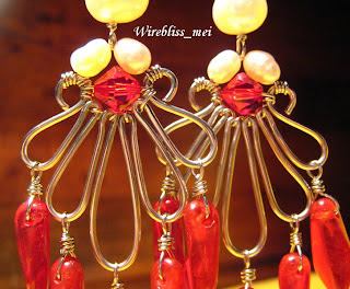 Wire Wrapped Red Hot Chili Earring