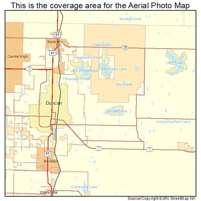 Aerial Photography Map Of Duncan Ok Oklahoma