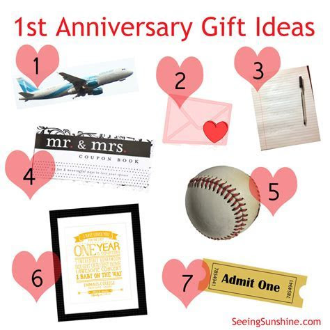 First Anniversary Gift Ideas   Party and Gift Ideas
