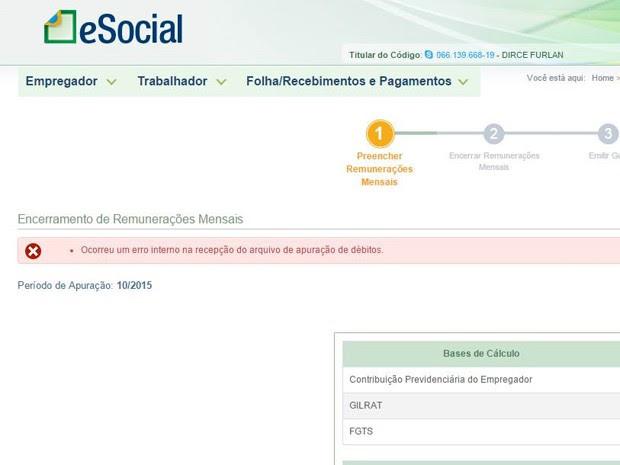 """O internauta Thiago Padua, de Taguatinga, DF, enviou a seguinte mensagem: """"Ocorreu um erro interno na recepção do arquivo de apuração de débitos"""" (Foto: Thiago Padua/Vc no G1)"""