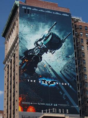 The Dark Knight movie billboard in New York - Batman on the Bat-Pod