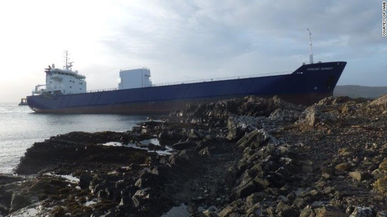 The cargo vessel Lysblink Seaways ran aground on the northwest coast of Scotland in February.