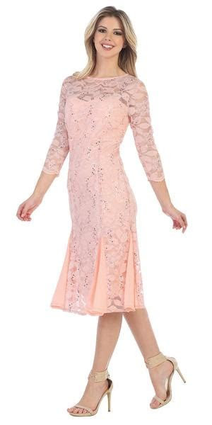 Sally Fashion 8864 Peach Mid Sleeved Lace Wedding Guest