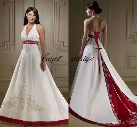 Discount Vintage White And Red Wedding Dresses 2018 Halter