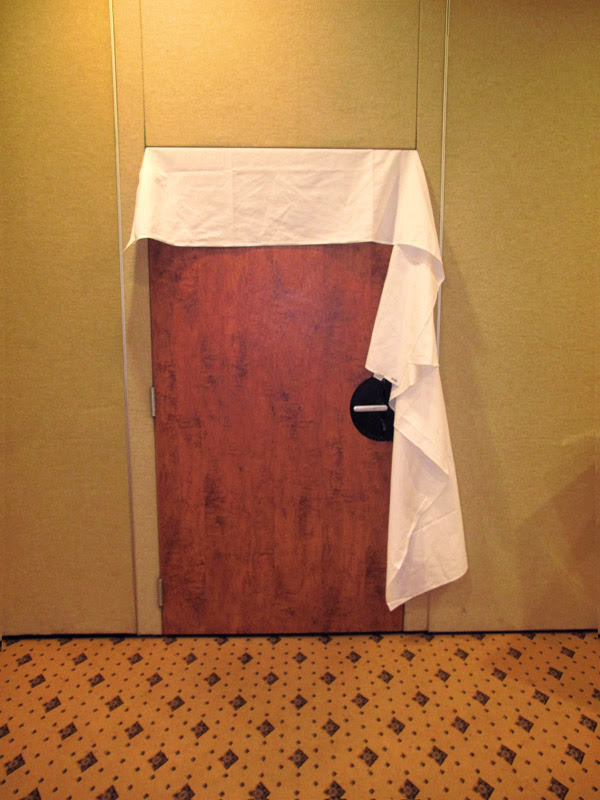 Doorway with sheet, LMFF Casting Menzies Hotel Sydney 2012