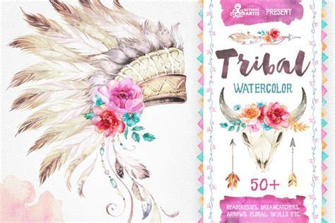 Tribal. Watercolor collection ~ Illustrations on Creative