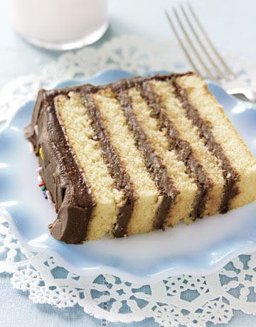 Moist cake is perfectly balanced with creamy frosting in this five-layer dream. Recipe: Sponge Cake with Chocolate Frosting