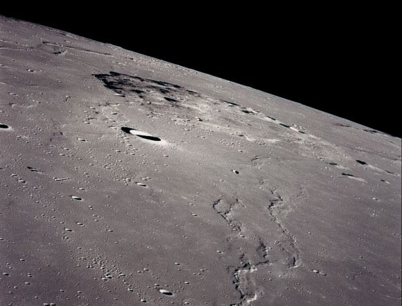 Mons Rümker rise on the Oceanus Procellarum was taken from the Apollo 15 while in lunar orbit.