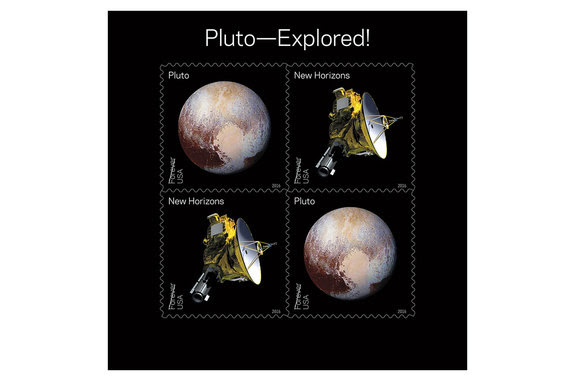"The title of the ""Pluto—Explored!"" stamps is a subtle nod to a 1991 USPS stamp that labeled Pluto ""Not Yet Explored."""