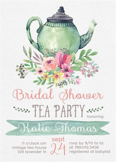 Tea Party Bridal Shower Invitations, Wedding Shower Invite