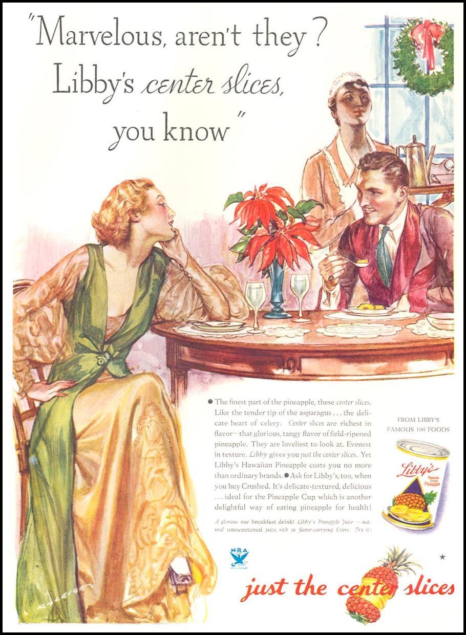 LIBBY'S HAWAIIAN PINEAPPLE GOOD HOUSEKEEPING 12/01/1933 p. 157