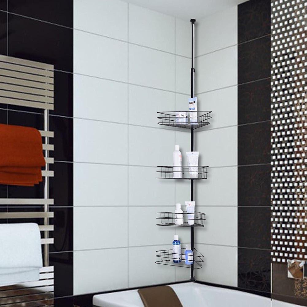 4 Layer Metal Shower Corner Pole Caddy Shelf Bathroom Bath ...