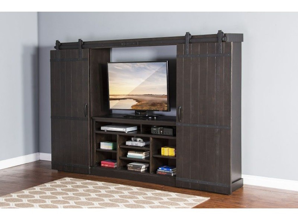 Sunny Designs Home Entertainment Charred Oak Barn Door Entertainment