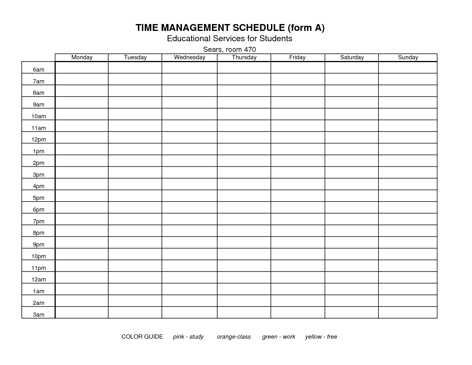 time management schedule template_274724