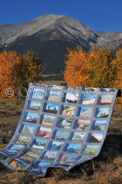 My 14er Quilt beneath 14er Mount Princeton