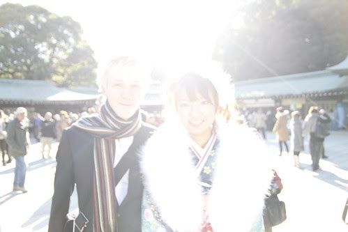 A young couple bathed in sunlight