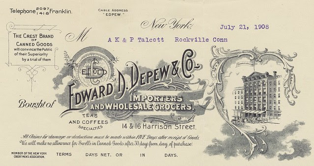 decorative business invoice letterhead with flourish, 1908