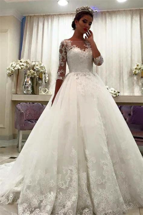 Bateau Half Sleeve Lace Ball Gown Bridal Dresses Appliques