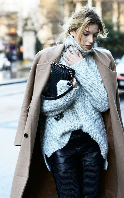 Le Fashion Blog Street Style Blogger Camille Cherriere Camel Longline Coat Chunky Turtleneck Sweater Chanel Bag Black Moto Leather Pants Via Vogue