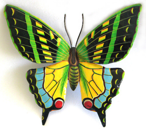Large Green Butterfly Wall Hanging - Painted Metal Art ...