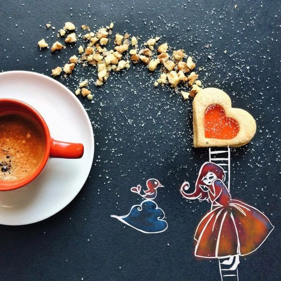she is in love morning coffee with cookies illustration
