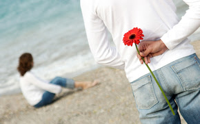 guy, girl, beach, coast, sand, surf, back, flower, feelings, love