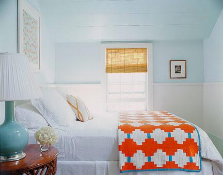 Dreamy blue-green Hamptons bedroom: Benjamin Moore's 'Spring Mint' + white trim