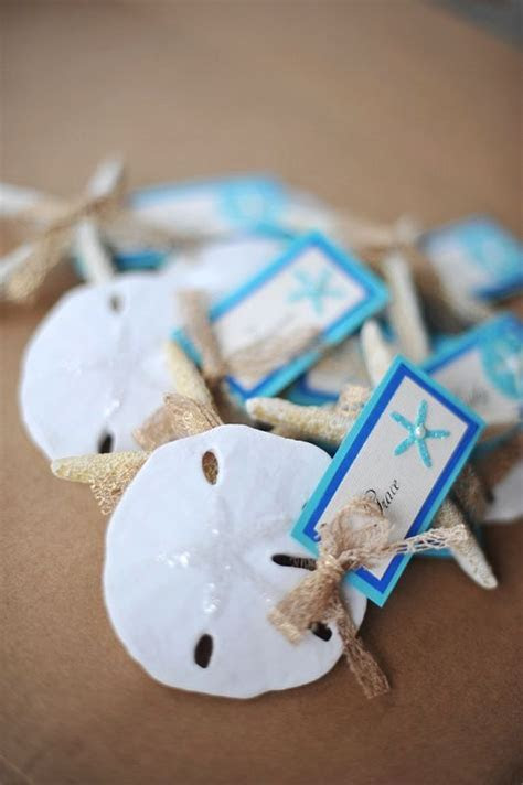 Beachy place card holders. Photo by Island Bliss Weddings