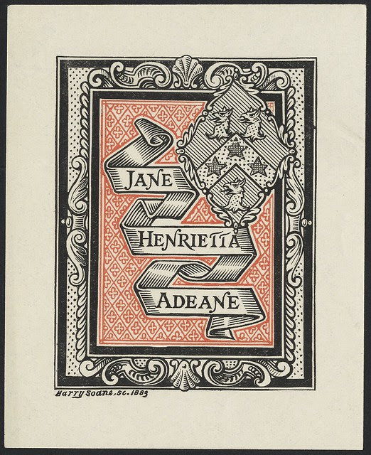 19th c. bookplate engraving : folded ribbon in ornate shell border