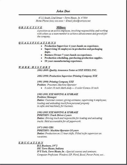 Military Resume, Occupational:examples,samples Free edit