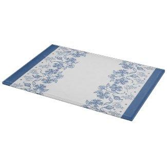 Custom Indigo Blue Floral Border Cutting Board