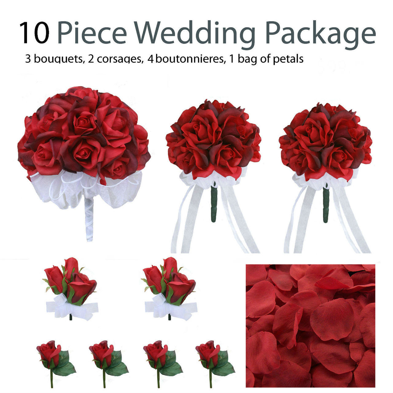 10 Piece Red Silk Wedding Flower Package  Red Rose Silk Flower Bridal Bouquets Destination