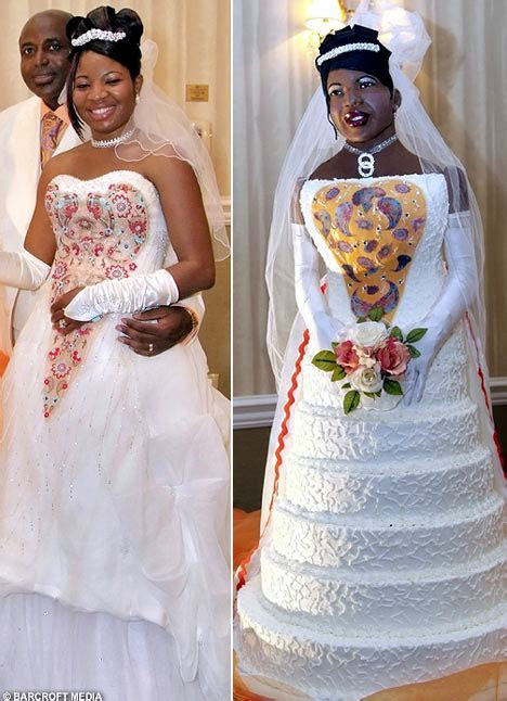 Bride has wedding cake made into life size model of