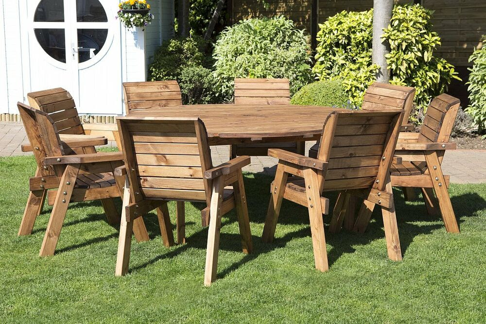 HGG Round Wooden Garden Table and 8 Chairs Dining Set ...