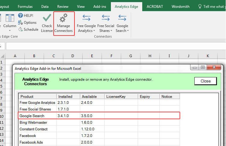 Analytics Edge Manage Connectors