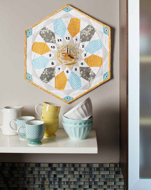Love this!  Quilted Clock for the kitchen after refresh- just need to pick colors.