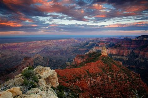 united states arizona grand canyon canyon rock point imperial sky clouds sunset night hd wallpaper