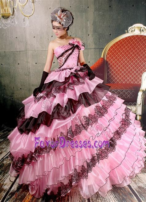 Beaded Baby Pink and Black Prom Gowns with Ruffled Layers