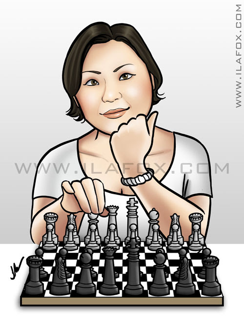 Retrato para avatar, daniela, jogando xadrez, by ila fox