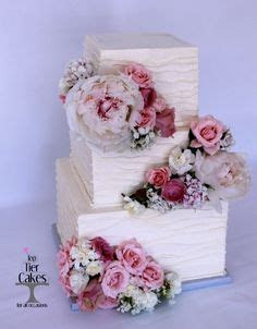 Square vintage blush flower ranunculus peony rose cake