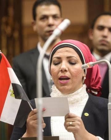 Gihad Ibrahim durante un discurso en el Parlamento egipcio.