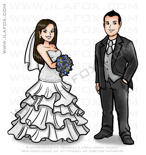 Caricatura personalizada casal, noivos, caricatura perto longe, by ila fox